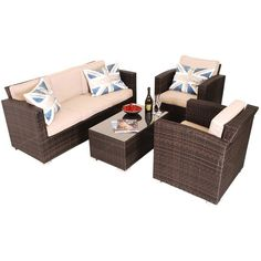 Rattan 3 Seat Sofa Set in Brown ($1,270) ❤ liked on Polyvore featuring home, outdoors, patio furniture, outdoor loungers & day beds, garden patio furniture, rattan outdoor furniture, brown patio furniture, garden furniture and rattan patio furniture