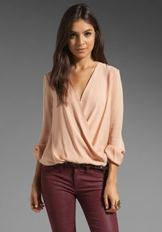 Haute Hippie Drape Front Long Sleeve Blouse in Desert Sand