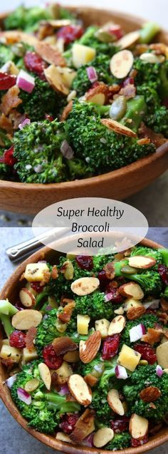 Super Healthy Broccoli Salad recipe is packed with extra nutrition of yogurt, chia and hemp seeds. Everyone gobbled this up and they all loved the crunch. www.thefedupfoodi...