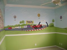 Racecar mural - Palmbeach County  South Florida - Race car wall mural for decorating boy's rooms.