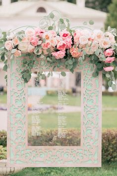 Chic And Elegant Wedding Decor Ideas ★ elegant wedding decor transparent escort cards display in a turquoise frame is decorated with pink roses konstantin semenikhin Chic Wedding, Gold Wedding, Elegant Wedding, Wedding Events, Wedding Flowers, Wedding Day, Wedding Centerpieces, Wedding Decorations, Wedding Mint Green