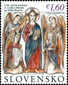 Stamp: The 1150th Anniversary of the Arrival of St. Cyril and Metho (Slovakia) (Joint Issue with Czech Republic, Vatican and Bulgaria) Mi:SK 712,AFA:SK 685,POF:SK 542