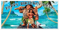 Moana Birthday Banner Personalized Custom Party Backdrop Deoration ** Click on the image for additional details.