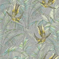 Sunbird (W6543-05) - Osborne & Little Wallpapers - An exotic bird of paradise with boldly coloured leaves, darting through a leaf jungle background.  Shown in the  lemon, soft jade on a metallic silver background. Please request a sample for true colour match.