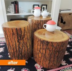 Merrill loves the organic, natural look of tree stumps as end tables, but doesn't love the price: individual tree stumps can cost hundreds of dollars