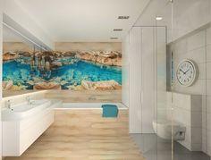 Moderne Badgestaltung Mit Fototapeten   Lagune An Der Wand Neben Dem  Spiegel Bad Grundriss, Gäste