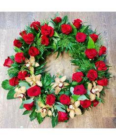 Coroana rotunda cu trandafiri si orhidee Funeral Bouquet, Floral Wreath, Wreaths, Floral Crown, Door Wreaths, Deco Mesh Wreaths, Floral Arrangements, Garlands, Flower Crowns