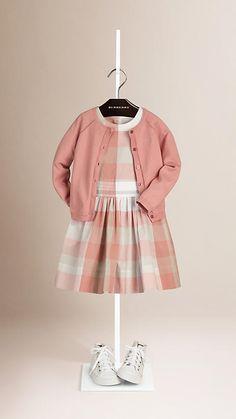 Light copper pink Openstitch Detail Cotton Cardigan - Image 1