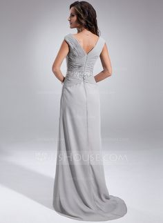 A-Line/Princess Off-the-Shoulder Sweep Train Chiffon Mother of the Bride Dress With Ruffle Beading Sequins (008005681)
