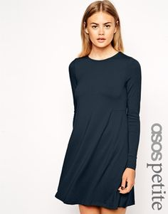 Enlarge ASOS PETITE Swing Dress with Seam Detail with Long Sleeve