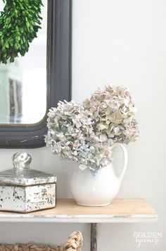Dried hydrangeas in
