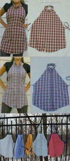 Dress Shirt turned into a BBQ Apron (Collar or No Collar versions)