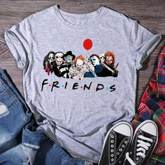 """All your Halloween """"FRIENDS"""" on one shirt! Boy Halloween Costumes, Halloween Shirt, Halloween Gifts, T Shirts Uk, T Shirts For Women, Female Friends, Friends Tv Show, Sleeve Styles, Casual Shorts"""