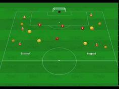 Coaching futbol ejercicio 5x4+4 comodines 1 y 2 porterias