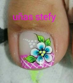 Uñas Toenail Art Designs, Pedicure Designs, Pedicure Nail Art, Nail Polish Designs, Cute Toe Nails, Pretty Nails, Feet Nails, New Nail Art, Fabulous Nails