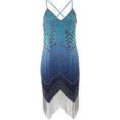 Haute Hippie Fringe Ombre Dress ($1,295) ❤ liked on Polyvore featuring dresses, spaghetti strap dress, blue ombre dress, sequin dress, knee length cocktail dresses and blue sequin cocktail dress