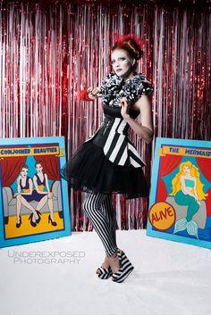Costume, Striped Costume, Womens Costume, Clown Costume, Circus Costume