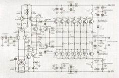 This is a very high power amplifier circuit diagram by Rod Elliott. The circuit is built using 10 pairs of power transistor and (or then it will use 20 piece… Dc Circuit, Circuit Diagram, Electronic Circuit Design, Ohms Law, Car Audio Amplifier, Crown Amplifier, Speakers, Electronic Schematics, Speaker Plans