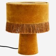 mustard coloured velvet table lamp by madam stoltz H Design, Bedside Table Lamps, Low Tables, Velvet Cushions, Shop Interiors, Cotton Velvet, Color Shades, Mustard Yellow, Picture Frames
