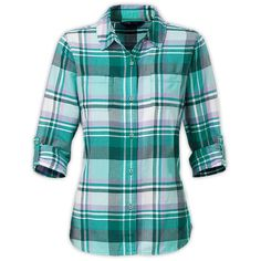 The North Face Women's Long-Sleeve Pomaria Plaid Shirt (80 AUD) ❤ liked on Polyvore featuring tops, shirts, long sleeve shirts, layering shirts, roll sleeve shirt, plaid top and long sleeve tops