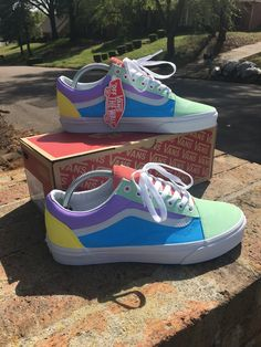 Custom vans shoes Shoes Pastel shoes Vans shoes old skool Colorful shoes Vans shoes - Image of Pastel ColorBlock old skool Sneakers - Vans Customisées, Vans Shoes Old Skool, Tenis Vans, Vans Sneakers, Vans Pastel, Pastel Shoes, Colorful Shoes, Basket Style, Custom Vans Shoes