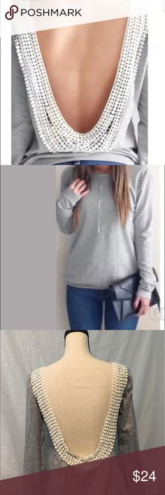 """🆕 Backless Lace Top Sexy little gray top with cream lace. Adorable with skinny jeans and booties. Pit to pit: S 18"""", M 19"""", L 20"""". 65% cotton/35% polyester. A must have for the end of summer! Tops"""