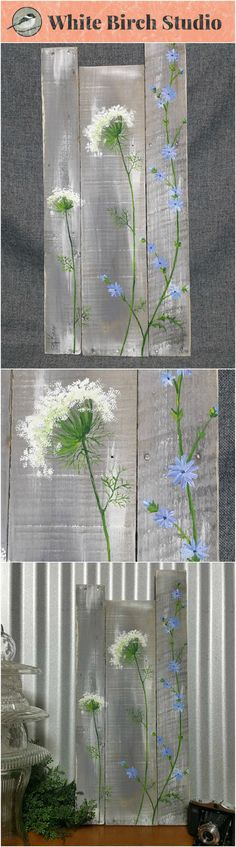 Pallet wall art wild flowers greenery Farmhouse decor gray aged wood hand painted flowers Queen Ann Lace Rustic shabby Reclaimed This gray and white-washed piece would be a great personal touch to your Spring and Summer decor at home or at your cottage. Pallet Wall Art, Pallet Painting, Tole Painting, Painting On Wood, Rustic Painting, Wood Paintings, Painting Quotes, Painting Canvas, Pallet Crafts