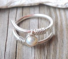 Fresh Water Pearl Wrapped 925 Sterling Silver Hammered Ring | pavlos - Jewelry on ArtFire