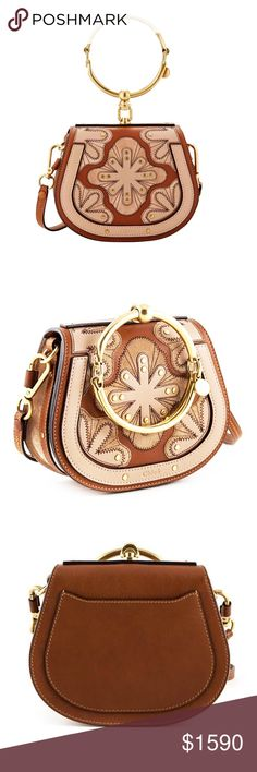"""New Chloé Nile Small Floral Patchwork Bracelet Bag SAME DAY SHIPPING  USPS 1-3 DAY PRIORITY MAIL  Authentic  Made in Italy New, never used  This bag has tags, authenticity card, care card, and dust bag Distinctive bracelet hardware elevates a stitched and stud-embellished calfskin bag in a signature curved silhouette. Flap closure Bracelet carry handle; optional, adjustable crossbody strap Exterior slip pocket Interior slip pocket Suede lining Calfskin leather 4"""" strap drop 20"""" - 23""""…"""