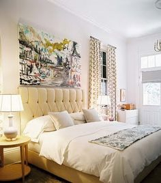 Large art above the headboard