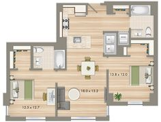 Park Chelsea at The Collective | 2 Bedroom 2 Bathroom Floorplan | 1003 sq ft | Luxury Apartments In Washington DC