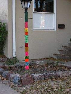 Knitta, Please! Hitting the streets with Montrose's craftiest taggers Guerilla Knitting, Yarn Bombing, Street Lamp, Guerrilla, Graffiti Art, Knitting Yarn, Creative Director, Pop Art, Knit Crochet