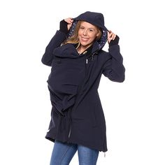 Viva la Mama | Brand New! The Softshell baby carrying jacket BOSCO (water-repellent, windproof, navy with stars) has the baby wearing options in front of your body or on the back. It is your perfect outdoor jacket for pregnancy, maternity, baby wearing and everyday use. Mommy and baby are protected from rain, wind and cold. Ideal companion for outdoor and mountain moms! :)