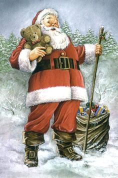 Vintage Santa in woods with teddy bear in arms Classic Christmas Music, Vintage Christmas Images, Old Fashioned Christmas, Father Christmas, Santa Christmas, Xmas, Primitive Christmas, Retro Christmas, Country Christmas