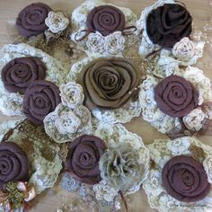 Vintage lace, Crochet & Burlap roses - Brooches