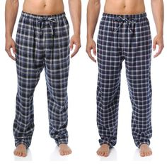 Noble Mount Mens 100% Cotton Flannel Lounge Pants 2-Pack - Many Patterns