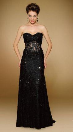Rina Di Montella 1832 Sheer Beaded Corset Formal Gown