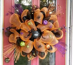 Your place to buy and sell all things handmade Autum Wreaths, Halloween Mesh Wreaths, Diy Halloween, Halloween Decorations, Orange Spider, Fall Designs, Glitter Pumpkins, Frame Wreath, Deco Mesh