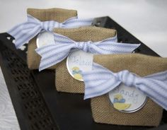 Party Favor Bags - Closing them with Ribbon Belts Many ways to embellish Many ways to tie them closed