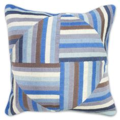 Modern Throw Pillows | Blue and Grey Windmill Bargello Throw Pillow | Jonathan Adler
