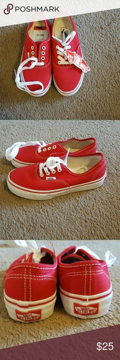 Vans NWT Red Kids shoes size 2 Red Vans Size Kids 2 NWT. Perfect for a boy or girl! Classic styling Red upper White sole. Never worn excellent condition. The 2nd pic shoes some minor dirt marks on sole from storage. Have not tried to clean. Vans Shoes Sneakers