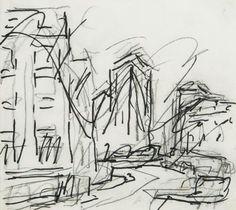 Frank Auerbach (b.1931) Untitled (landscape)  black felt tip pen over black chalk on paper 8 1/4 x 9 in., 21 x 24.2 cm