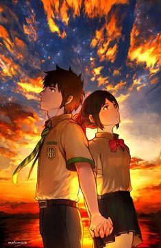 Your Name- Mitsuha and Taki Your Name Movie, Your Name Anime, Film Manga, Anime Films, Anime Love Couple, Cute Anime Couples, Mitsuha And Taki, Kimi No Na Wa Wallpaper, Your Name Wallpaper