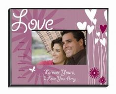 Love Hearts and Flower Picture Frame Personalized