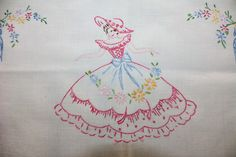 Southern Belle Crinoline Lady Embroidered by EmeliasHouseOfLinens, $14.00