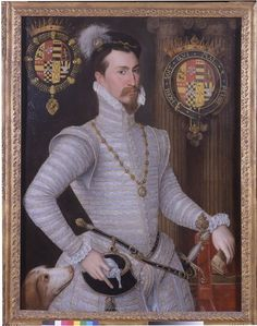 This glamorous portrait shows Robert Dudley (?1532-1588), first Earl of Leicester and favorite of Queen Elizabeth I, in a white doublet embellished with gold thread. Robert Dudley was appointed Master of the Queen's Horse in 1558, and frequently accompanied her. His hat jewel, depicting the Roman hero Marcus Curtius on horseback, alludes to this role and his equestrian skills.  c. 1564