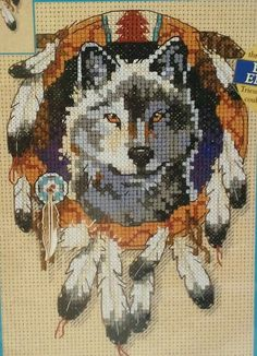 Creative Accents 7984 Counted Cross Stitch Kit Native Wolf with Feather Charm 5x7 inches Patrick Coddington    New, sealed counted cross stitch kit in