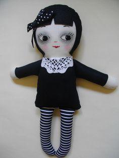 GOTHIC RAG DOLL Kawaii handmade cloth Rag by PalookaHandmade: OMG she totally reminds me of Wednesday Adams! Soo cute!