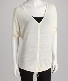 Take a look at this White Drawstring V-Neck Dolman Top by Topin on #zulily today!