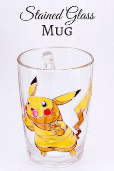 Pikachu Mug, Pokemon Mug, Anime Mug, Gamer Mug, Geeky Gifts, Pokemon Gifts, Pokemon Go Mug, Pikachu Gift Stained Glass #ad #coffee #tea #coffeelovers #tealovers #coffeemug #teacup #pokemongo #pikachu #handmade #handpainted #etsy #professionalpinner